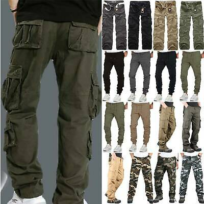 Mens Elasticated Cargo Combat Work Cotton lightweight Trousers Pants Bottoms UK