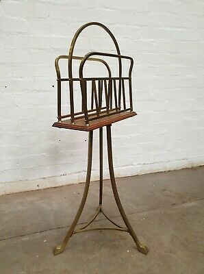 Elegant Vintage Brass and Wood Magazine Stand in Excellent Condition