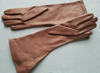 Vintage boxed soft leather ladies gloves brown wide wrist cuff 1930s