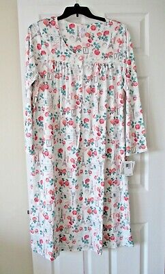 Aria womens sweetheart long sleeve nightgown plus size 1X ivory print