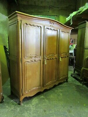 Superb quality antique French solid golden oak carved armoire,wardrobe,Flat pack