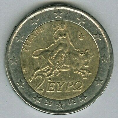 ZEUS RE-EMBODIED IN THE BULL STEALS EUROPE GREECE 2002 2 EURO = S = COIN