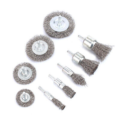 9Pcs Steel Wire Brush Polishing Wheels Set For Metal Cleaning Rust Ratory Tool