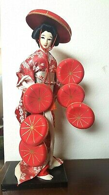 "Vintage Antique Japanese 16"" Nanamaigasa Hat Dance Cloth Silk Kimono Geisha Doll"