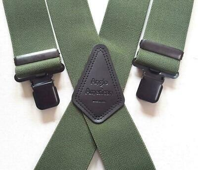 "Mens Braces Heavy Duty 2"" or 1.5 Olive Camo Fishing Work Trouser Black Clips"