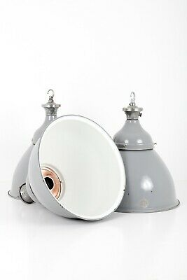 Extra Large Industrial Grey Domed Enamel Pendant Lights By Benjamin