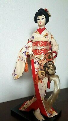 Vintage Antique Japanese Geisha Doll Silk Kimono with Samurai Warrior Helmet.