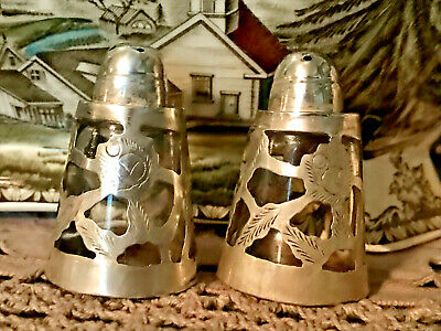 Vintage Sterling Silver Salt & Pepper Shaker Made In Mexico Floral  Pretty!!!!