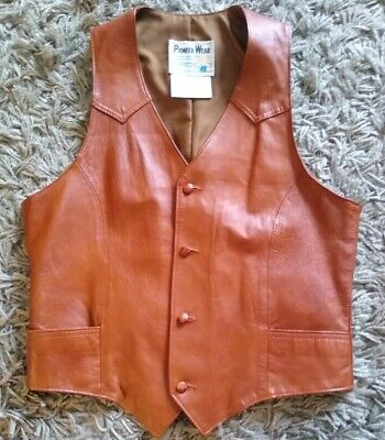 Vintage 80's 90's Pioneer Wear Brown Leather Western Vest Men's Size 42L~ Nice!
