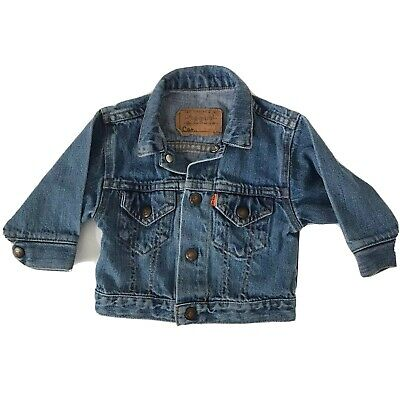VTG Toddler Kids LEVIS Denim Blue Jean Jacket Size 18 months ORANGE TAB