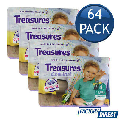 4 x TREASURES COMFORT NAPPIES TODDLERS 10-15KG DIAPER NAPPY UNISEX SIZE 4 16PACK