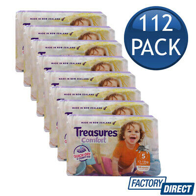 8 x TREASURES COMFORT BABY NAPPIES WALKER 13-18Kg DIAPERS NAPPY SIZE 5 14 PACK