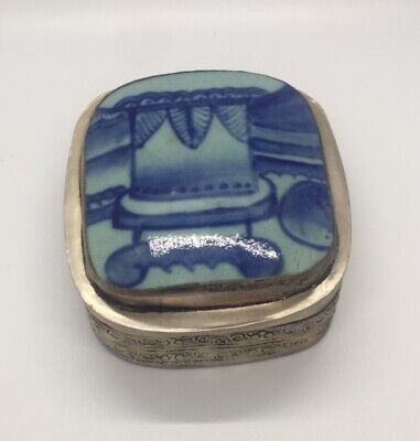 Antique Chinese Porcelain Shard in Silver Plated Box Painted Blue and White