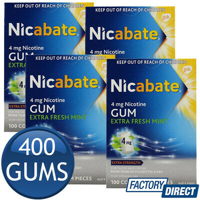 4 x NICABATE NICOTINE GUM EXTRA FRESH STRENGTH MINT 100 COATED CHEWING GUMS 4mg