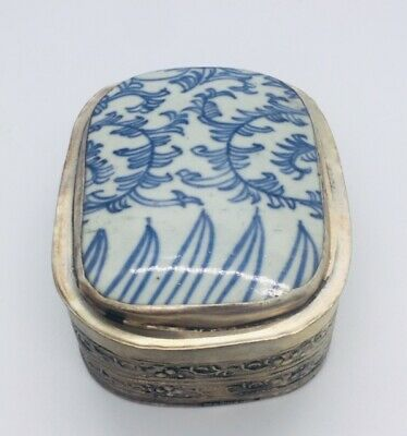 Antique Chinese Blue +  White Porcelain Shard Silver Plated Box