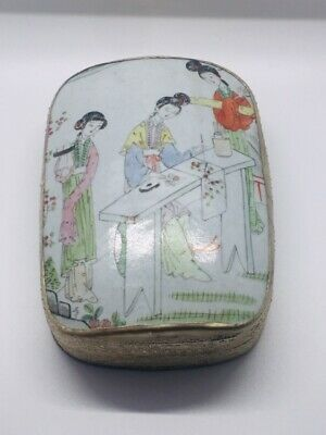 Antique Chinese Porcelain Shard Silver Plated Box Ladies Painting in Garden