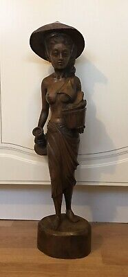 Antique Large Oriantal Wooden Statue