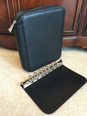 "CLASSIC 1"" Black FULL GRAIN LEATHER Franklin Covey SPACEMAKER Planner Binder PDA"