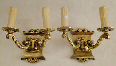 Antique french Louis XV style bronze pair of sconces (1296B)