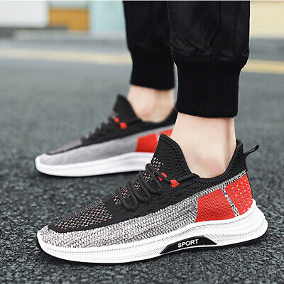 3Pairs Men Sports Sneakers Running Shoes Breathable Athletic Shoes Gym Black Red