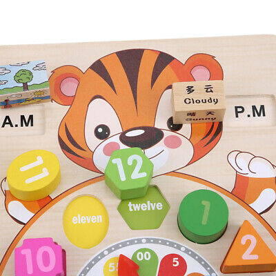 Wooden Cartoon Animal Puzzle Clock Toy Toddler Baby Early Educational Toys SW