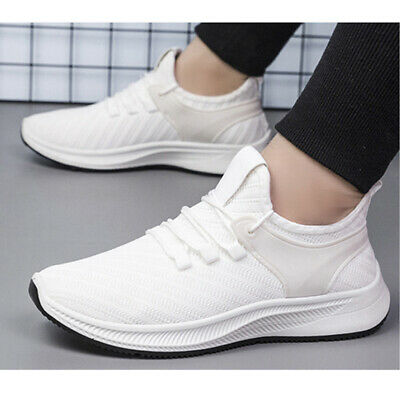 2PCS Mens Sneakers Casual Sports Running Shoes Classic Breathable Athletic White