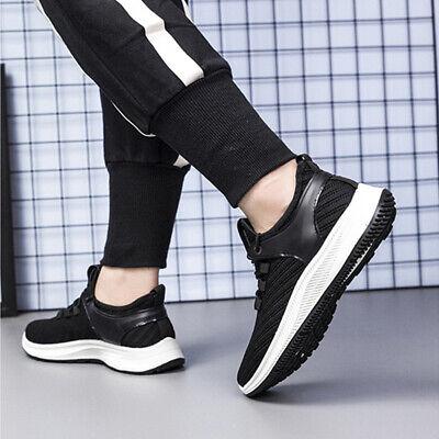 2PCS Mens Sneakers Casual Sports Running Shoes Black Classic Breathable Athletic