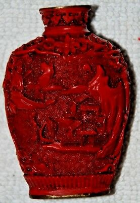 AUTHENTIC 19THC CHINESE CARVED RED CINNABAR LACQUER SIGNED SNUFF BOTTLE  No Top