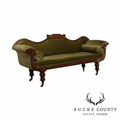 Antique Late Regency Period Mahogany Scrolled Arm Sofa