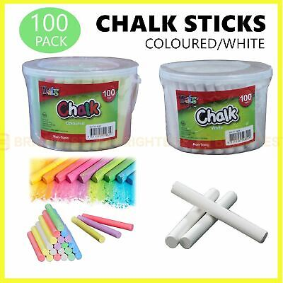 100pcs Coloured White Chalk Sticks Classic Craft Kids Art School Blackboard Tub