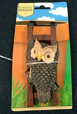 Plant Pot Hanger Owl Climbs to get into your Flower Pot - NEW FREE SHIP