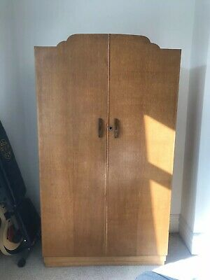 Mid Century Retro Wooden Wardrobe. Hanging Space, Shelves And Drawers. London.