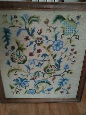 Antique hand made needlework Victorian embroidered tapestry with floral screen