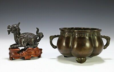 Two Piece Lot Chinese Bronze Censer and Statue of Animal