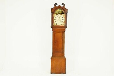 19th Century Oak Longcase Grandfather Clock 8 Day Works, Scotland 1850, B1711