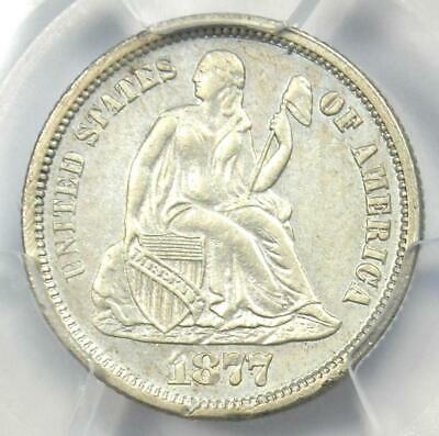 1877-CC Seated Liberty Dime 10C - PCGS Uncirculated Detail (UNC MS) - Rare Coin!