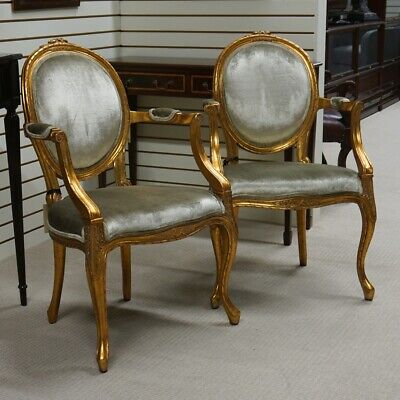 Pair of Mahogany Louis Carved Cameo Back Chairs gold leaf