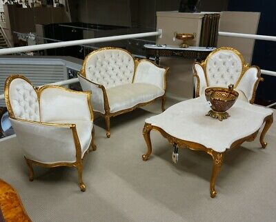French Antoinette 2 seater Love Seat and 2 chairs with gold leaf white velvet