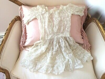 Antique vtg old Victorian Net Lace doll Dress So Sweet