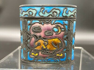 Antique Chinese Silver Enameled Snuff Box Cloisonne Horse Beast Qing Dynasty 18c