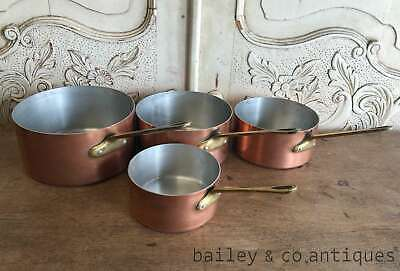 Vintage French Set of 4 Copper Saucepans Brass Handles Lined - RF623