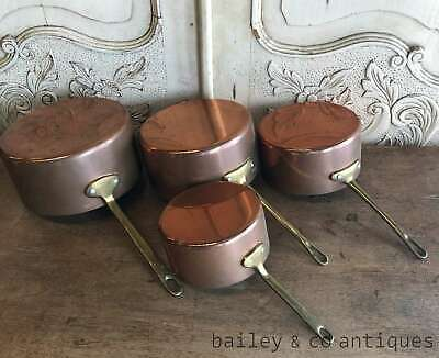 Vintage French Set of 4 Copper Saucepans Brass Handles Lined - RF626