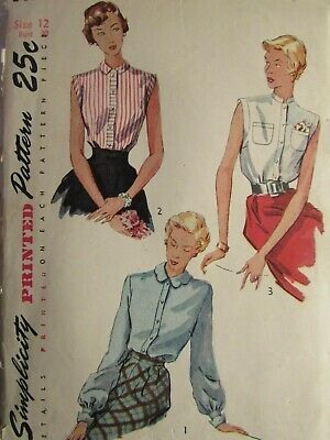Amazing VTG 49 SIMPLICITY 3092 Misses Blouse in 3 Versions PATTERN 12/30B