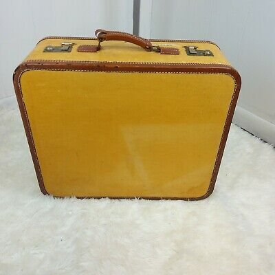 Vintage WHEARY ART DECO SUITCASE Luggage leather Trim hard case