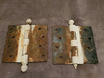 Vintage Hinges ~ Ball End Hinges ~ Cast Iron ~ Salvaged Hardware ~Removable Pin