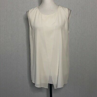 Hugo Boss Womens Ivory Silk Blouse Sleeveless Overlap Top Sz 10 12 *Read