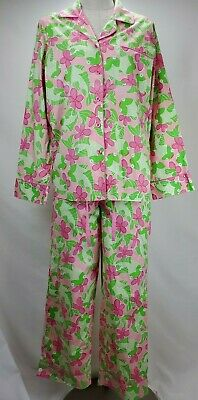 Lilly Pulitzer Cotton Pajamas Set Size Small S Pink Green Floral Fish Top Pants