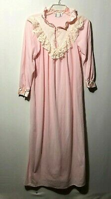 Vintage Ashley Taylor Pink Flannel Long Sleeve Lace Nightgown Bow Size M Cotton