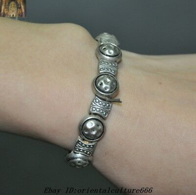 Collect Old Chinese Dynasty Old Tibetan Silver jewelry Amulet Bracelets bangle