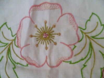 Vintage Doily Traced Stamped Linen SEMCO Floral #804 to Complete Centrepiece